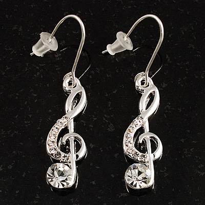 Silver Tone Crystal Treble Clef Drop Earrings