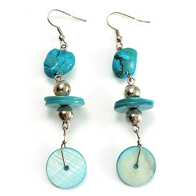 Turquoise Style Drop Earrings (Silver Tone)
