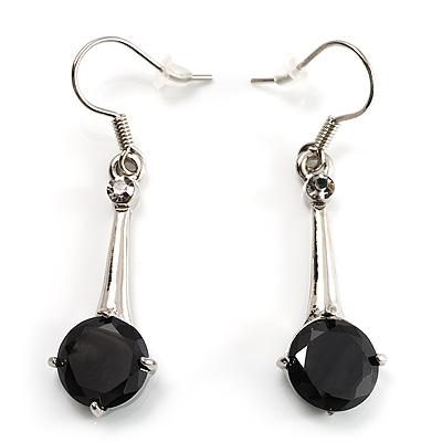 Jet Black Round Cut CZ Drop Earrings (Silver Tone)