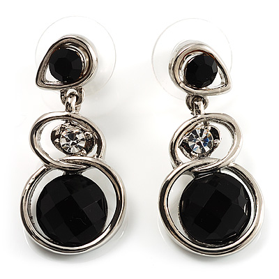 Black Beaded Drop Earrings (Silver Tone) - main view