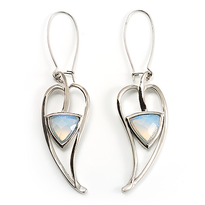 Contemporary Crystal Leaf Drop Earrings (Silver Tone) - main view