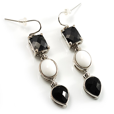Striking CZ Drop Earrings (Silver Tone)