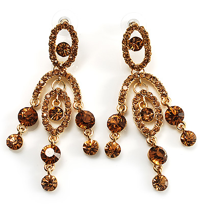 Stunning Amber Coloured Swarovski Crystal Chandelier Earrings (Gold Tone) - main view