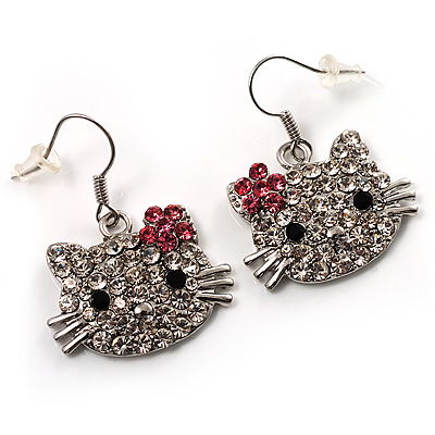 Cute Crystal Kitten Earrings (Silver&amp;Clear)