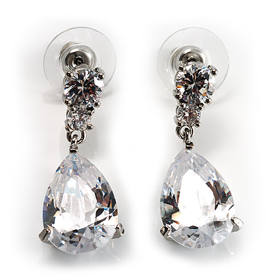 Bridal CZ Pear-Cut Drop Earrings