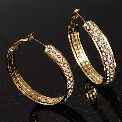 Gold Tone Diamante Hoop Earrings  (40mm Diameter)