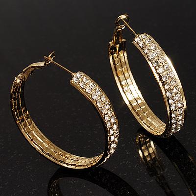Gold Tone Diamante Hoop Earrings  (40mm Diameter)