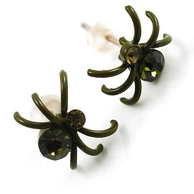 Tiny Olive Green Crystal Spider Stud Earrings