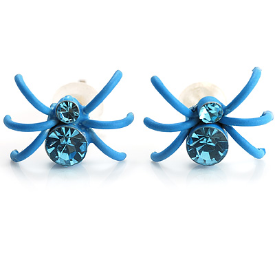 Tiny Sky Blue Crystal Spider Stud Earrings - main view