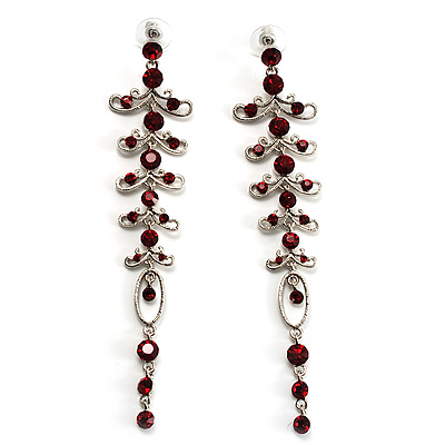 Long Vintage Statement Earrings (Silver&Ruby Red)