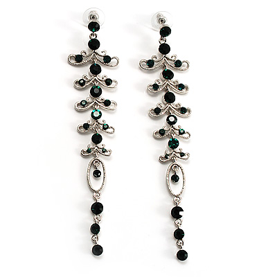 Long Vintage Statement Earrings (Silver&amp;Emerald Green)