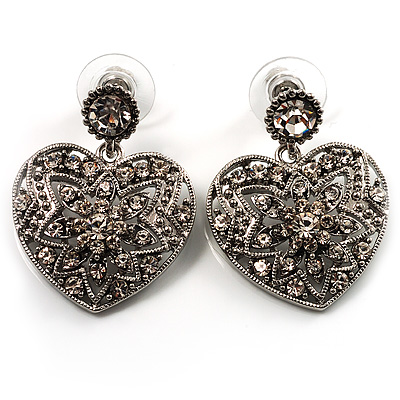 Silver Tone Filigree Crystal Heart Drop Earrings - main view