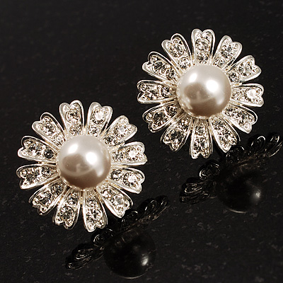 Floral Crystal Faux Pearl Stud Earrings (Silver Tone)