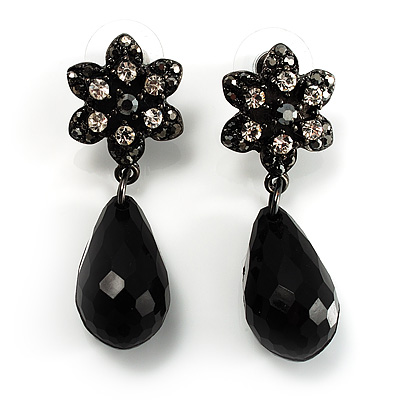 Black Crystal Floral Bead Drop Earrings