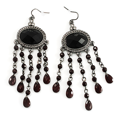 Black Bead Chandelier Earrings (Black Tone) - main view
