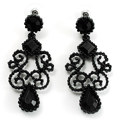 Black Gothic Bead Drop Earrings - main view