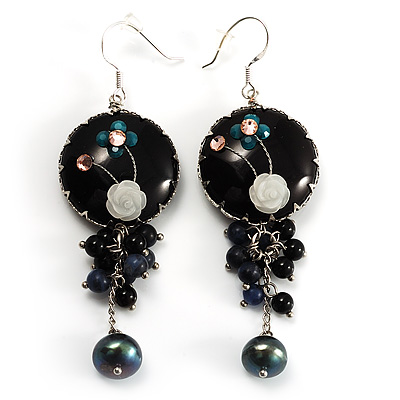 Boho Style Floral Bead Drop Earrings (Silver&Black) - main view