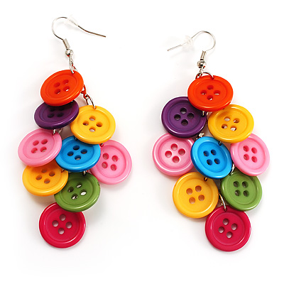 Multicoloured Plastic Button Drop Earrings (Silver Tone) - main view