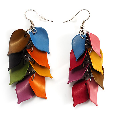 Multicoloured Plastic Leaf Dangle Earrings (Silver Tone)