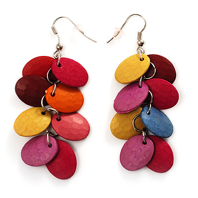 Multicoloured Plastic Bead Dangle Earrings