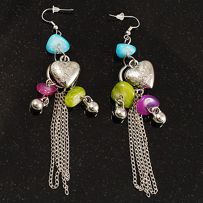 &#039;Love&#039; Heart Tassel Bead Drop Earrings(Silver Tone)