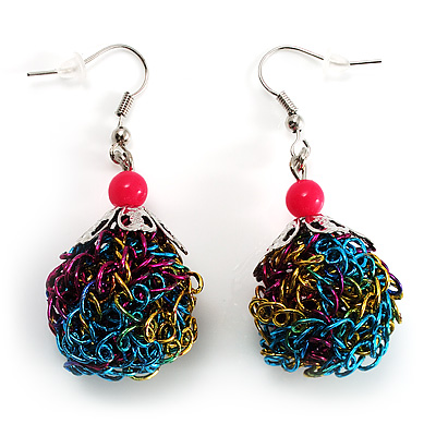 Funky Multicoloured Wire Ball Drop Earrings (Silver Tone)