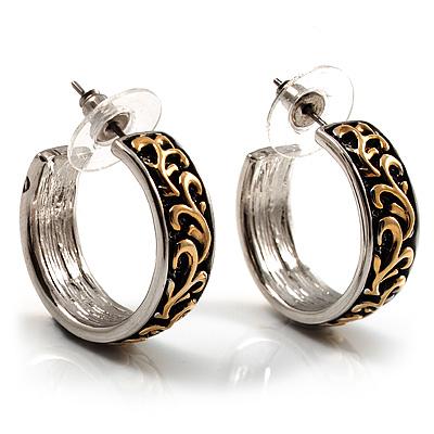 Two-Tone Small Pattern Hoop Earrings (2cm Diameter)