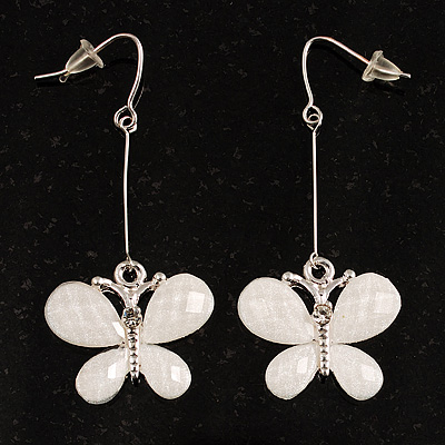 Snow White Acrylic Crystal Butterfly Drop Earrings (Silver Tone)