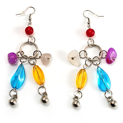 Long Multicoloured Semiprecious Bead Dangle Earrings (Silver Tone) - main view