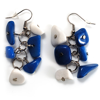 Blue &amp; White Semiprecious Chip Drop Earrings (Silver Tone)