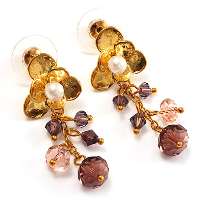 Vintage Gold Tone Bead Drop Earrings (Pale Purple)