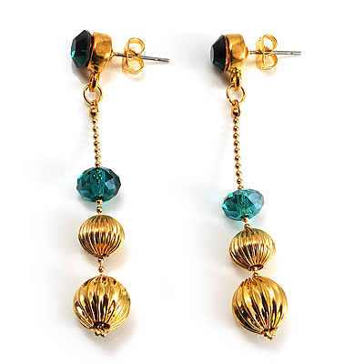 Gold Plated Emerald Green Crystal Drop Earrings