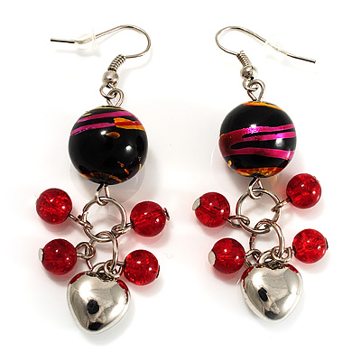 Red Glass Bead Drop Earrings (Silver Tone)