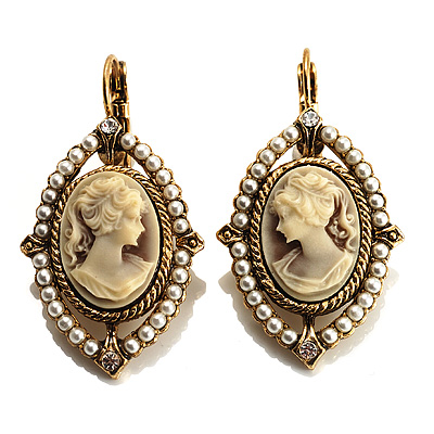 Vintage Cameo Imitation Pearl Drop Earrings (Burn Gold) - main view