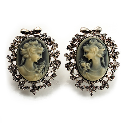 Classic Cameo CZ Clip-On Earrings (Silver Plated) - main view