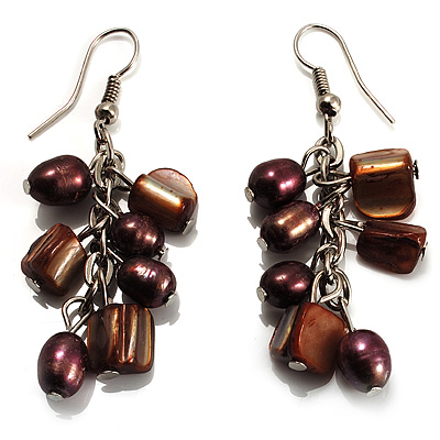 Chocolate Freshwater Pearl &amp; Shell Composite Drop Earrings (Silver Tone)