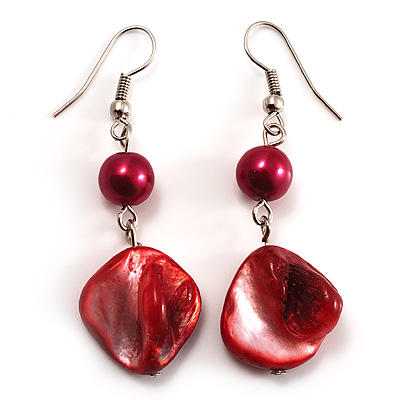 Coral Red Shell Bead Drop Earrings (Silver Tone) - main view
