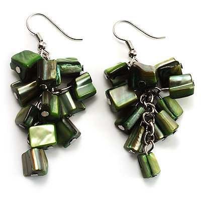Olive Green Shell Composite Cluster Dangle Earrings (Silver Tone) - main view