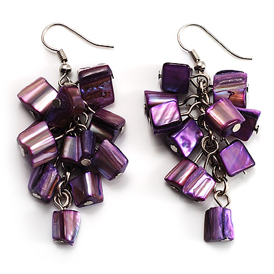 Purple Shell Composite Cluster Dangle Earrings (Silver Tone)