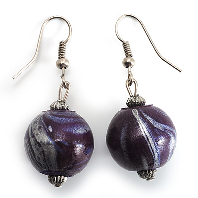 Purple & Metallic Silver Wood Drop Earrings (Silver Tone)