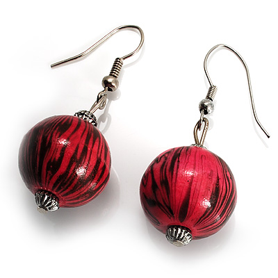 Coral &amp; Black Animal Print Wood Drop Earrings (Silver Tone)