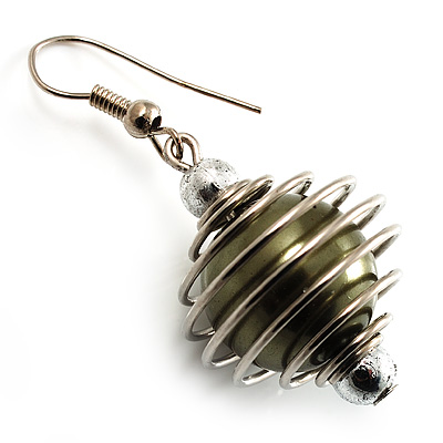 Silver Tone Olive Green Faux Pearl Drop Earrings