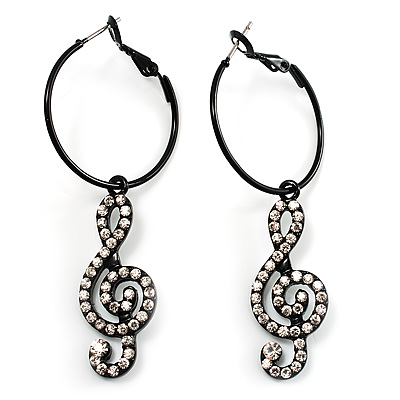 Black Hoop Earrings With Crystal Treble Clef Charm Earrings - 2.5cm Diameter