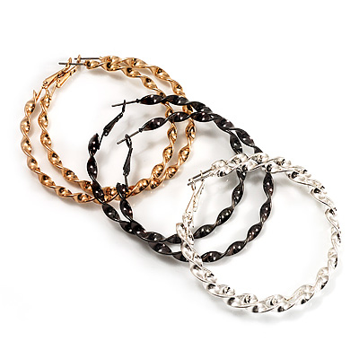 Set of 3 Twisted Hoop Earrings - 5.5cm in Diameter (Black, Silver And Gold)