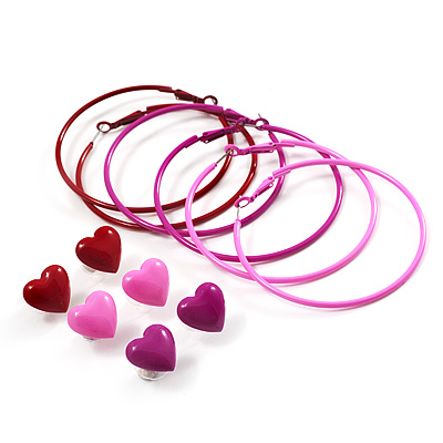 Red, Pale And Deep Pink Hoop And Heart Earring Set - 3 Pairs (6cm Diameter)
