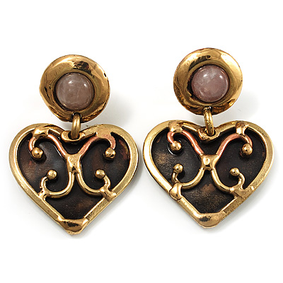 Flowering Heart Brass Earrings