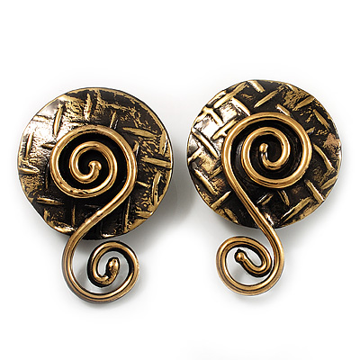 Spiral Enlightenment Brass Clip-on Earrings