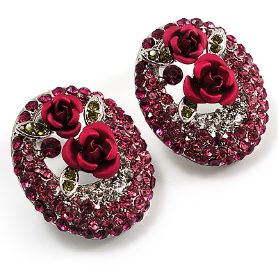 Oval Diamante Rose Stud Earrings (Silver Tone)