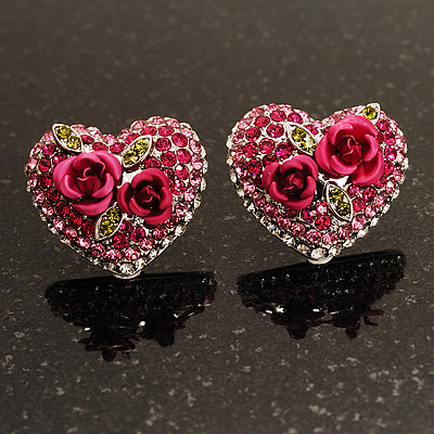 Heart Diamante Rose Stud Earrings (Silver Tone)