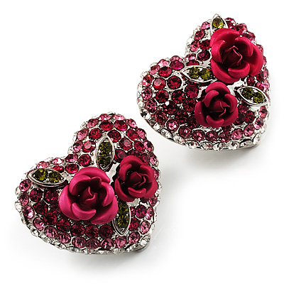 Heart Diamante Rose Stud Earrings (Silver Tone) - main view